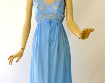Vintage 70s Long Nightgown Blue Sheer Lace Bust Nylon Gown by Henson Kickernick Size 36