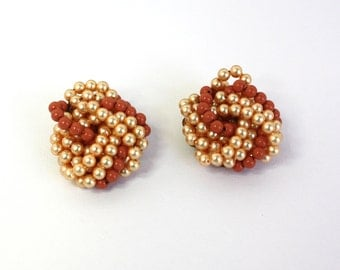 Vintage 60s Bead Earrings Coral & Pearl Handwired Plastic Beads Clip Backs