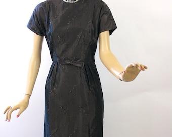 Vintage 50s Dinner Dress Dark Brown Brocade Taffeta Sheath Dress Bust 38