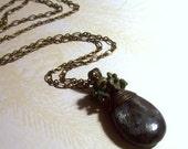 Labradorite Briolette with Turquoise Chips Accents Pendant in Antique Brass