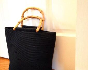 Vintage Handbag Black Nylon Tote Bag with Bamboo Handles