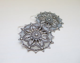 Harper Earrings, Ornate Filigree Earrings with Sterling Silver