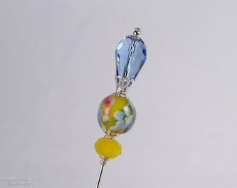 Blue Floral Lamp Work Stick Pin, 3 Inch Crystal Hat Pin, Scarf Pin, Hijab Pin KC0474