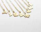 State Charm Necklace // Texas, New York, Ohio, New Mexico Mini Map Geography Land Necklace //  Miniature State Necklace