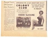 1964 ad Reddi Sloane burlesque dancer appearing at Colony Club Staten Island Four Frenchman Richmond Terrace nightclub - Free U.S. shipping
