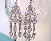 CHANDELIER EARRINGS, Bridal Earrings, Long Dangle Earrings, Wedding Jewelry, Bridal Jewelry, Crystal Drop, Pierced, Rhinestone, Deco, Gatsby