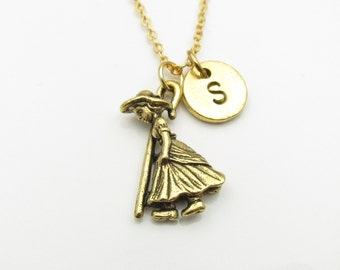 Little Bo Beep Necklace, Gold Little Girl Charm, Initial Necklace, Personalized Stamped Initial, Fairy Tale Monogram Necklace Z042