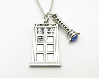 Tardis Necklace, Doctor Who Jewelry Fan Art, Silver Tardis and Sonic Screwdriver Charm, Blue Sonic Screwdriver A005