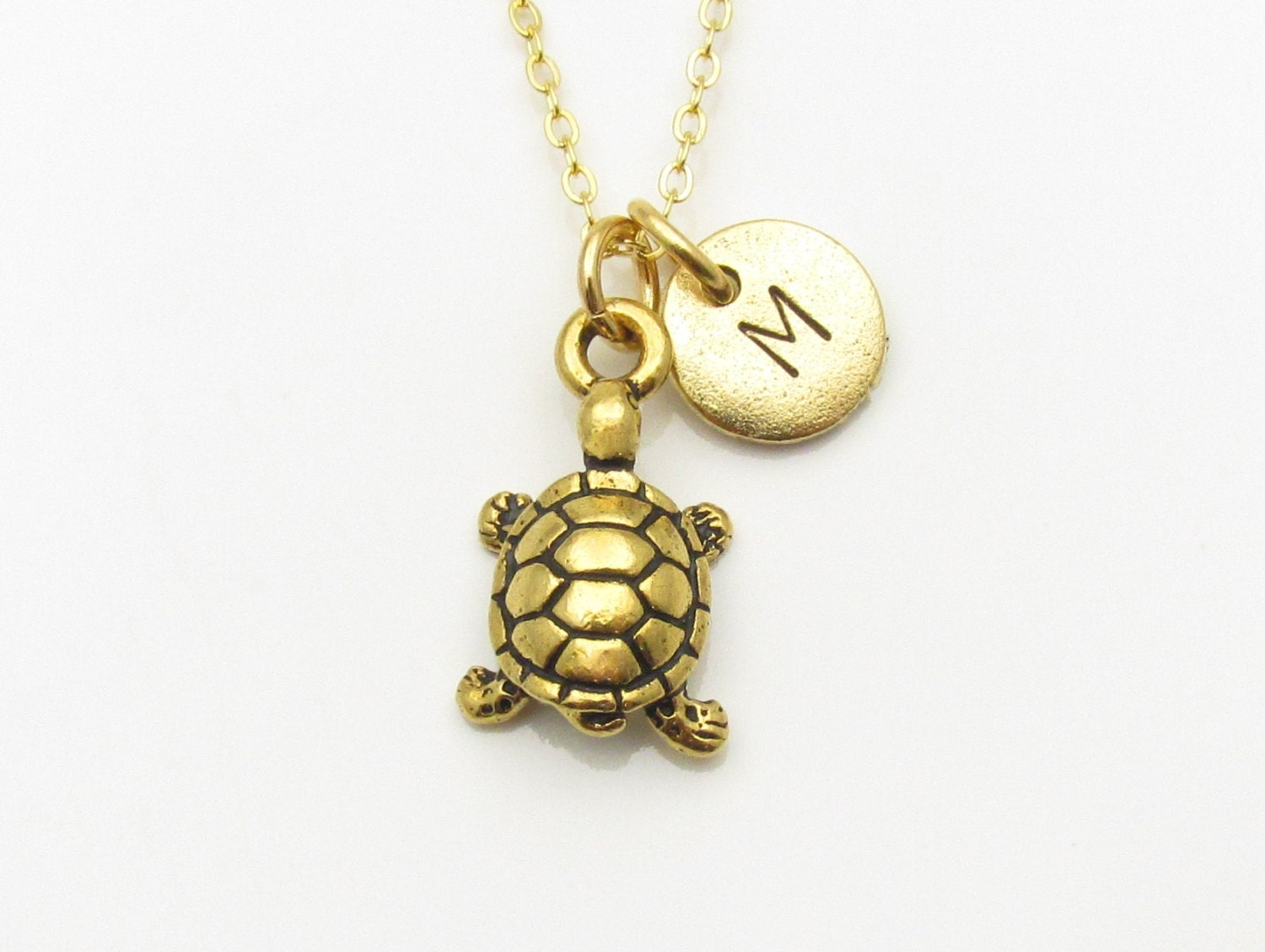 turtle necklace gold turtle charm initial necklace