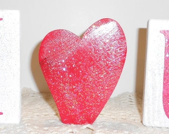 Valentine I Love You Blocks Wood Set White And Red With Glitter