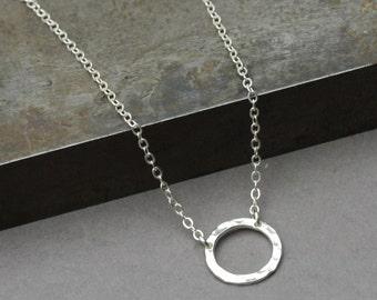 Hammered Circle Pendant, Sterling Silver Circle Necklace, Small Circle Necklace, Artisan Silver Jewelry