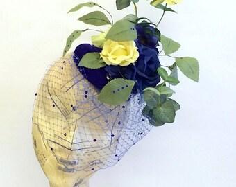 Indigo Blue Flower Fascinator