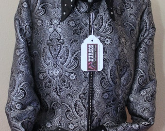 Western Pleasure Black And Silver Brocade Western Show Shirt Womens size 14