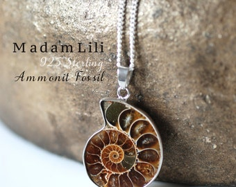 925 Sterling Silver Ammonite Fossil Necklace