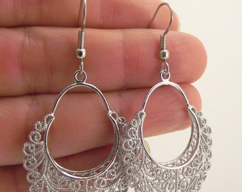 Fancy Round Silver Filigree Earrings, Silver Earrings