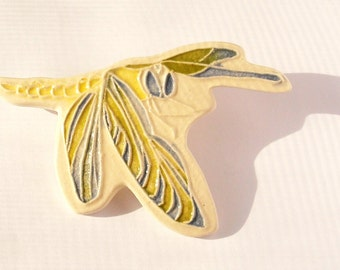 XXL DRAGONFLY Brooch includes gift wrap  Handmade Ceramic-Watercolor lightweight lapel pin   d6