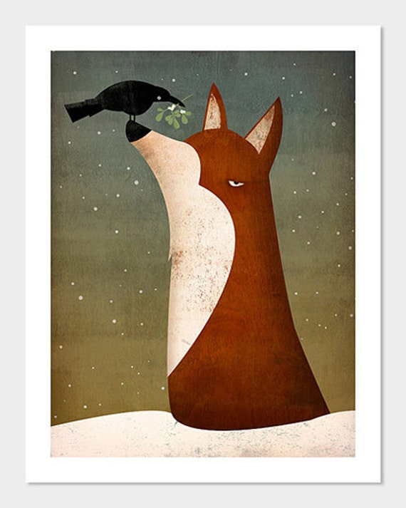 Fox, Crow and Mistletoe winter GRAPHIC ART print SIGNED by Ryan Fowler