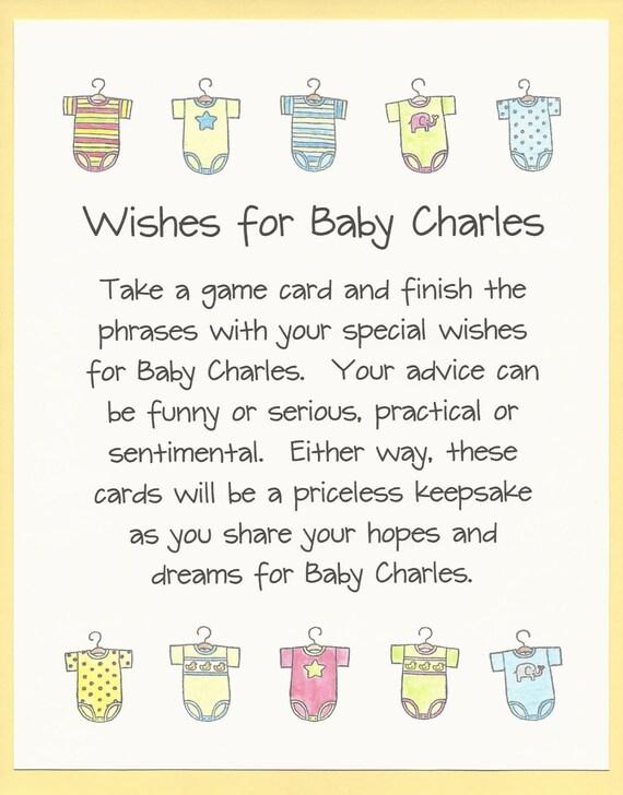 Easy baby shower games nursery rhymes printable baby shower game wishes for baby baby shower game fun and easy by cardsbykooper solutioingenieria Gallery