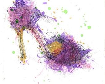 Mardi Gras Shoe Print, Shoe Art, Fashion Illustration