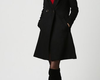 oversized coat,Black coat, wool coat, womens coats,wool jacket,military jacket women,mod clothing,custom made clothing, hooded jacket 1123