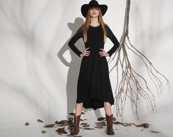 Black cotton dress women dress (1143)