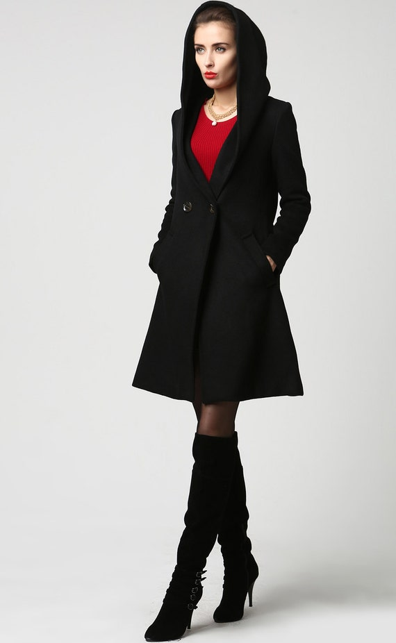 Black wool coat women coat (1123)