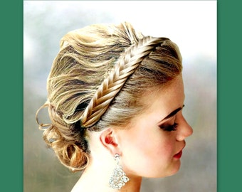 fishtail herringbone braid hair braided headband elastic headband plait beach wedding bridal hairband women accessory hairpiece diadem