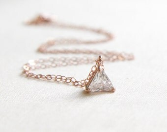 Rose Gold Triangle Necklace | Delicate Rose Gold Necklace | Solitaire CZ Necklace