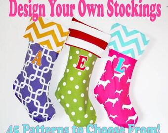 Christmas Stockings, custom holiday stockings, personalized custom christmas decorations, polka dots, chevrons, matching family stockings