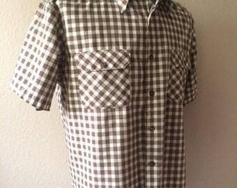 Vintage Men's 80's Big Mac, Shirt, Brown, White, Checkered, Button Up, Short Sleeve (L/XL)