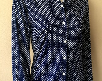 Vintage Women's 70's Blouse, Navy Blue, Polka Dot, Polyester, Long Sleeve by Laura Mae (M)