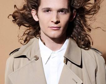 VERSACE Men's White Button Down Shirt, Long Sleeve Suit Shirt, XL