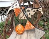 Orange Damask,Herringbone, Polka Dot, Geometric Burlap Halloween Fall Banner/ Bunting