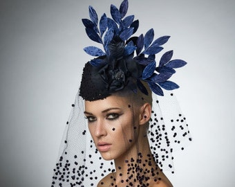 Navy Cocktail hat, Couture vintage hat, headpiece with veil, melbourne cup hat, Derby hat