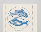 Zodiac Card ... PISCES . February 19 - March 20 //// Hand Letterpressed
