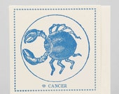 Zodiac Card ... CANCER . June 21 - July 22 //// Hand Letterpressed