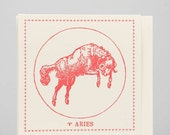 Zodiac Card ... AIRES . March 21 - April 19 //// Hand Letterpressed