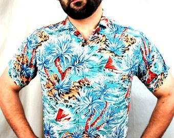 Vintage 1950s Tahitian Hawaiian Shirt