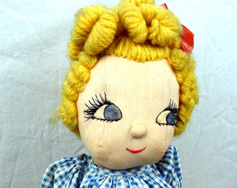 Vintage Cloth Doll Collectible Button Jointed Figurine