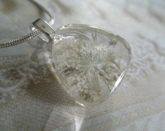 White Queen Anne's Lace Small Pressed Flower Glass Triangle Pendant-Nature's Wearable Art-Gifts Under 25-Symbolizes Peace