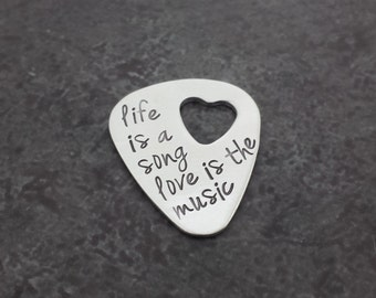 Personalized Guitar Pick with Heart Cut Out - Sterling Silver Guitar Pick - Gifts for Him - Gifts for Her