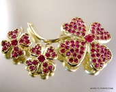 Sarah Coventry Pink Rhinestone Four Leaf Clover Shamrock Brooch and Earring Set