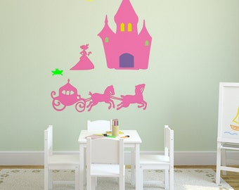 Fairy Princess with Castle and Coach - Wall Decal-Nusery Decal- Vinyl decal-Big 65 X 55 inches
