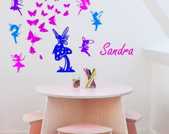 Fairies and Butterflies Personalized Wall Decal-Nusery Decal- Vinyl wall decal--Big 60 X 50 inches sticker