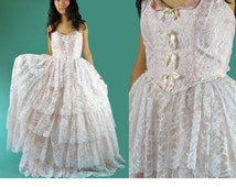 Vintage 70s Lace Maxi Dress / Strapless Maxi Dress Wedding Dress SHEER Pink LACE Maxi Party Cinderella Ball Gown Ruffled Lace Prom Dress XS