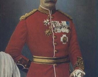 1900, Sir Richard Harrison, Large Antique Print, Army 28, Military Moustache, Uniform Commander, Frameable Art