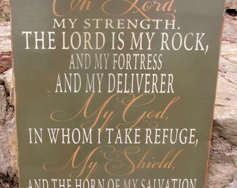 Psalm 18: 1-2, I love you Oh Lord, My strength.  The Lord is my rock, my fortress and my deliverer.  My God in Whom I take refuge...