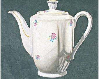 "Art Print, stillife, Kitchen Art ""Floral Teapot"" Print From Original Oil Painting, teapot painting"