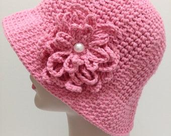 Sun hat, Chemo Hat, Brim, Pink Hat, Cotton Hat