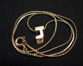 Vintage Gold Tone Initial J Pendant Choker Necklace